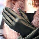 Women Lady Elbow Lambskin Faux leather Winter warm Long fleece Glove Delicate
