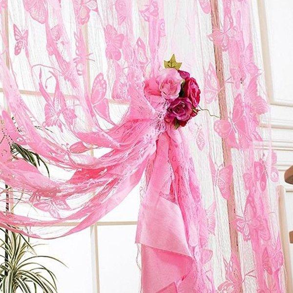 Drop Beaded String Door Window Curtains Divider Lace Curtains Room Flower Tassel