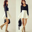 Vintage Women Stretch High Waist Short Plain Skater Flared Pleated Short Skirt