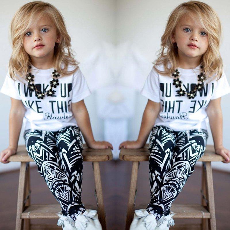 Toddler Kids Baby Girls T-shirt Tops+Long Pants Leggings Outfit Clothes 2pcs Top