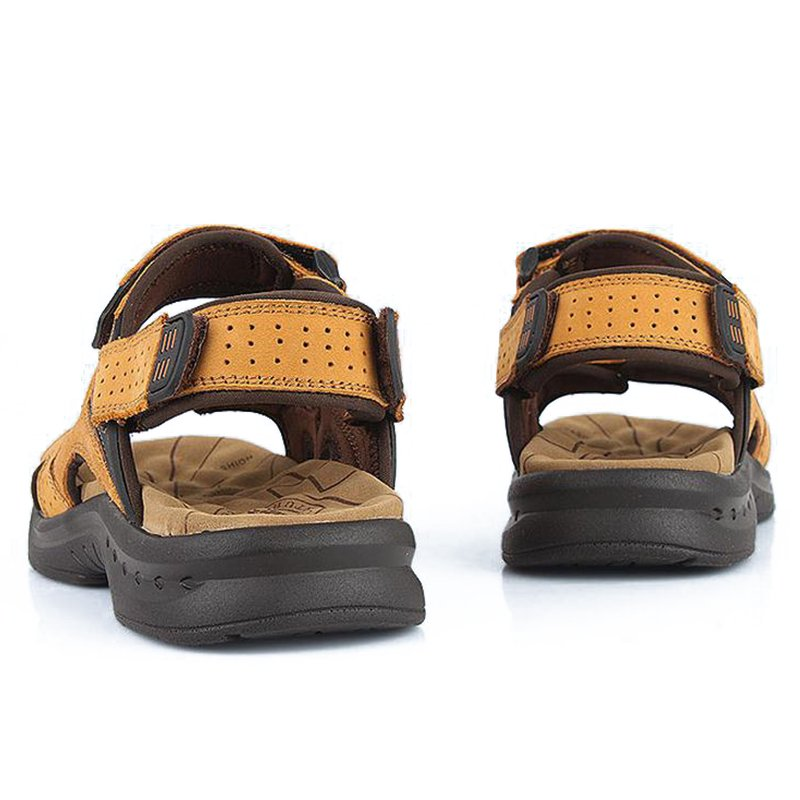 Genuine Leather Men Sport Beach Sandals Fisher Breathable Casual Shoes Popular