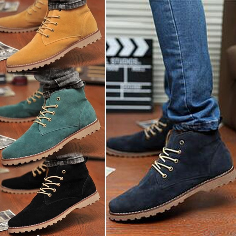 British Men's Casual Suede Lace Ankle Boots High Top Loafers Sneakers Shoes K154