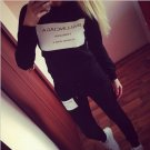 Hot Letter Women Athletic Sports Hoodies Coat+Pants 2pcs Sweat Suit Tracksuit FO