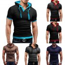 Gents/Mens Hooded Slim Cotton Fitted Short Sleeve Polo Travel Sweat Shirts Cheap