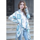 Women Long Sleeve Knitted Cardigan Boho Casual Loose Floral Knit Poncho Coat Top