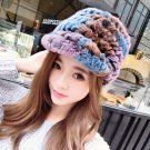 Women's 100% Real Rex Rabbit Fur Hat Cap Knit Handmade Knitted Beanie Winter