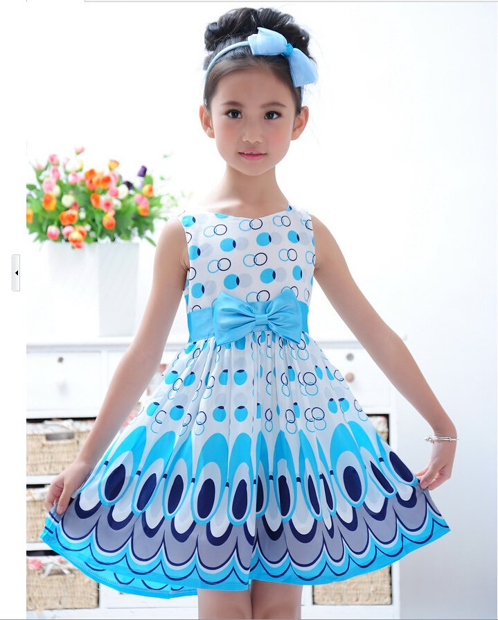 Kid Girl Bow Belt Sleeveless Bubble Peacock Baby Dress Party sweet Ages 2-7Y New