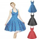Vintage 1950s 60s Swing Rockabilly Polka Dot Pinup Evening Prom Party Dress