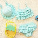 Baby Girls Bikini Children 3PCS Swimwear Bathing Suit Swimsuit Swim Hat Sets HOT