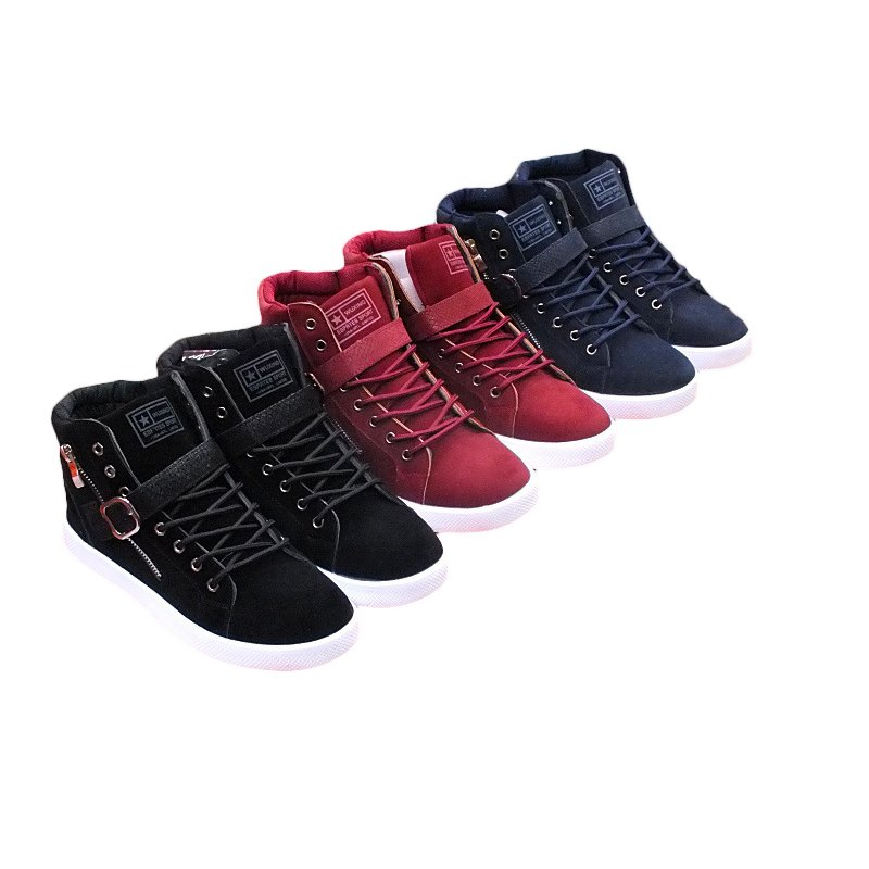 Men warm casual Leather High Top Loafers Shoes Ankle Boots Sneakers Fashion
