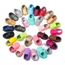 Cute Toddler Baby Infant Soled Leather Moccasins Bow Fringe Shoes 0-18 Months FL