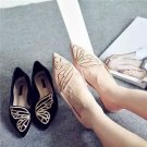 NEW Women Ballerina Ballet Dolly Pumps Ladies Flat Loafers Suede Butterfly Shoes