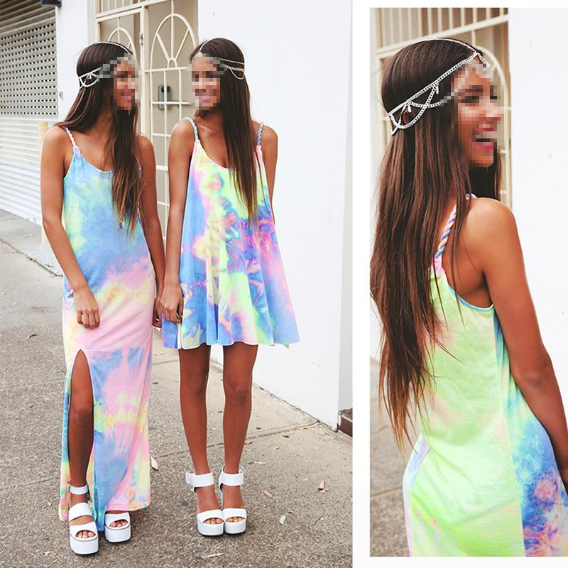 Lady's Strap Bandeau Tie-Dye Summer Beach Dress Short Mini Dresses Hot Sale