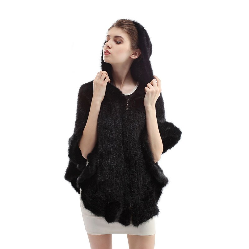 Unique Farm Real Knitted Mink Fur Shawl/Wraps/Cape Hoody Poncho Coffee/Black Top