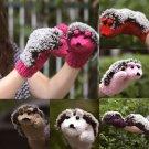 Woman Winter Warm Gloves Mittens Fleece Cartoon Hedgehog Fur Gloves New Hot Cool