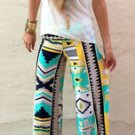 New Women Casual Pants Wide Leg Long Bohemian Loose Palazzo Trousers Beach 2016