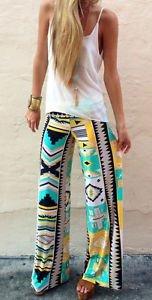 New Women Casual Pants Wide Leg Long Bohemian Loose Palazzo Trousers Beach 2016