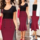 Women Plain Bodycon Pencil High Waisted Lady Stretch Midi Skirt Asian Soft