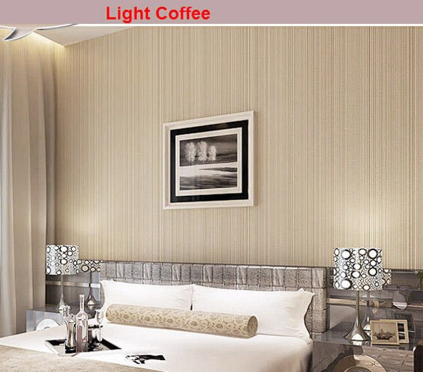 Simple Style White/Cream/Coffee Flocking Embossed Textured Lines Wallpaper Roll
