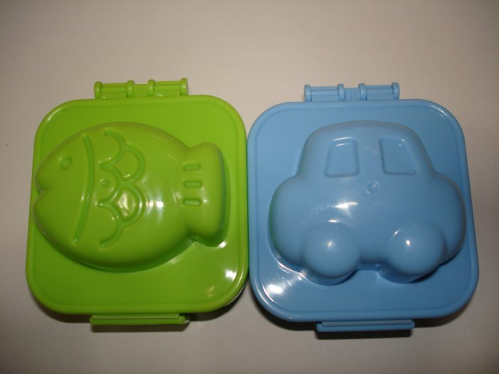 Set of 2 Egg Molds, Car and Fish Shaped