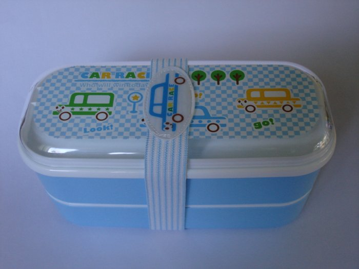 Blue Car Race Bento Box with Belt