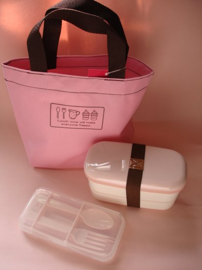 Natural Lunch Time Pink Bento Set