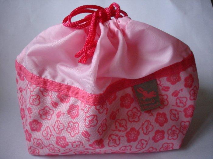 Pink Ume Blossom Design Drawstring Bento Bag