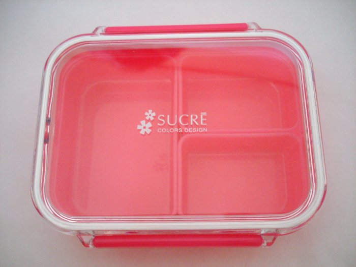 "Pink  ""Sucre"" One Tier Bento Box w/ Dividers"