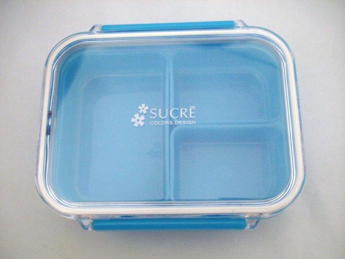 "Blue ""Sucre"" One Tier Bento Box w/ Dividers"