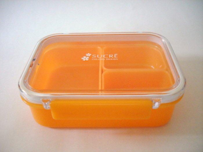 "Orange ""Sucre"" One Tier Bento Box w/ Dividers"