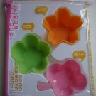 Set of 3 Silicone Bento Cups, clover and flower shapes