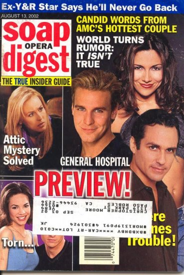Soap Opera Digest 8 13 2002 Ingo Rademacher Jax GH  magazine