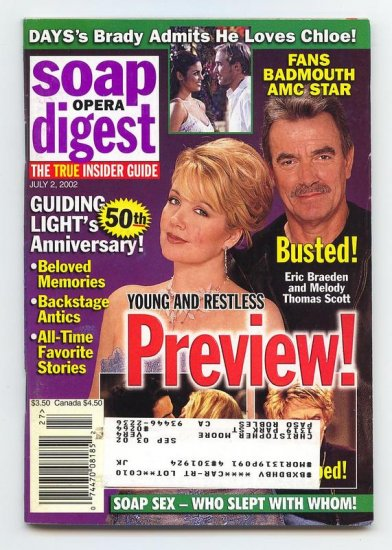 Soap Opera Digest  magazine 7 2 2002 Melody Thomas Eric Braeden