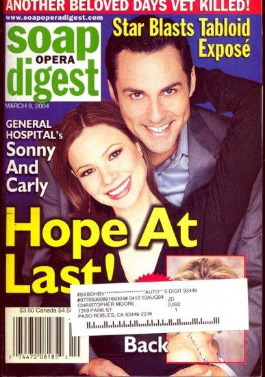 Soap Opera Digest Magazine 3 9 2004 Tamara Braun Maurice Benard