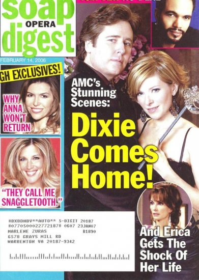 Soap Opera Digest 2 14 2006 Dixie Comes Home