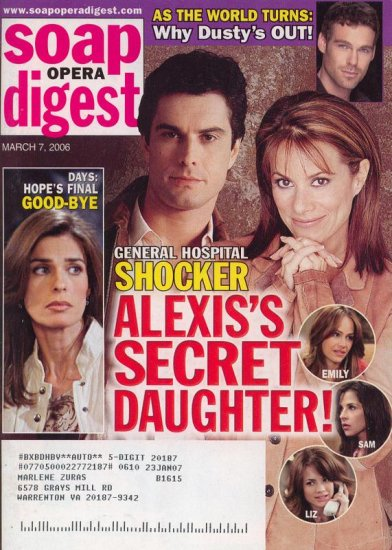 Soap Opera Digest 3 7 2006 Alexis's Secret Daughter March 7 2006