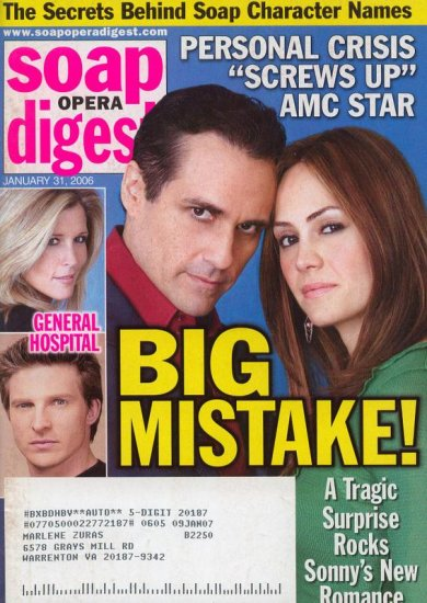 Soap Opera Digest 1 31 2006 Sonny & Emily GH  Jan 31 2006