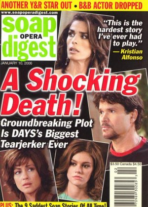 Soap Opera Digest 1 10 2006 A shocking death! sad story Jan 10 2006