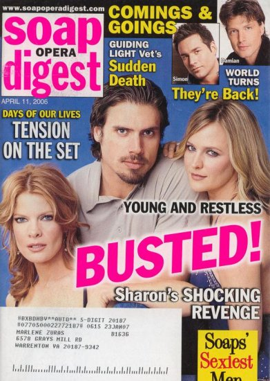 Soap Opera Digest 4 11 2006 Joshua Morrow Sharon Case April 11 2006