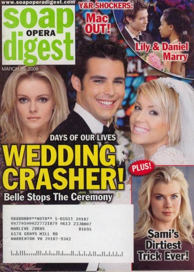 Soap Opera Digest 3 28 2006 Wedding Crasher Belle stops
