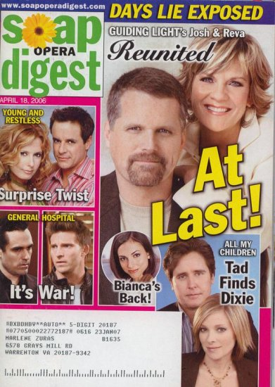 Soap Opera Digest 4 18 2006 Michael Knight Cady McClain