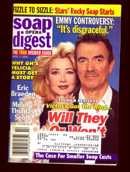 Soap Opera Digest 4 2 2002 Melody Scott Eric Braeden Magazine