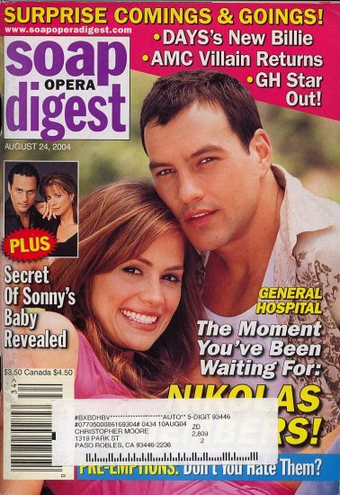 Soap Opera Digest 8 24 2004 T Christopher N Livington  Magazine