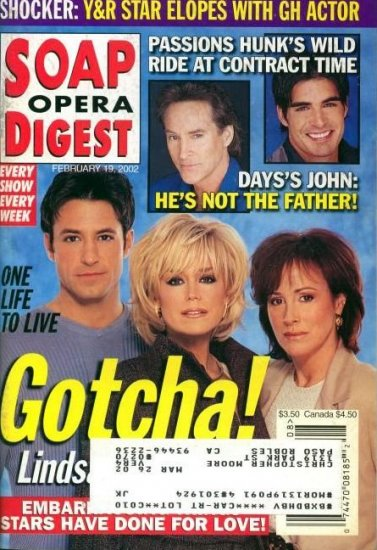 Soap Opera Digest 2 19 2002 TY Treadway Hillary B Smith