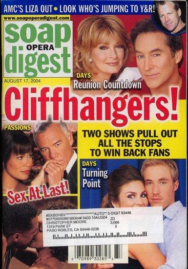 Soap Opera Digest 8 17, 2004 Cliffhangers! Drake Deidre Drake Hogestyn