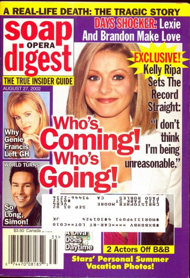 Soap Opera Digest 8 27 2002 Kelly Ripa Genie Frances Magazine