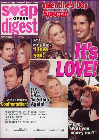 Soap Opera Digest 2 21 2006 Valentine's Day Special