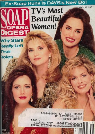 Soap Opera Digest 3 17 1992 TV's Most Beautiful Women