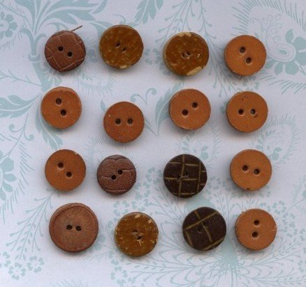 16 Vintage Leather Buttons Button