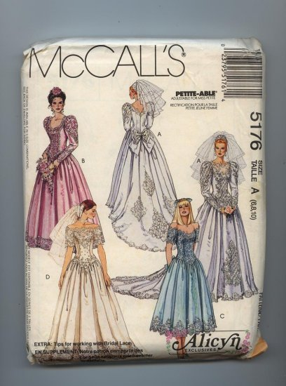 SOLD 1991 McCall's Alicyn  Wedding Dress Pattern Petite Able 5176 Size Talle A 6 8 10 Uncut Pattern